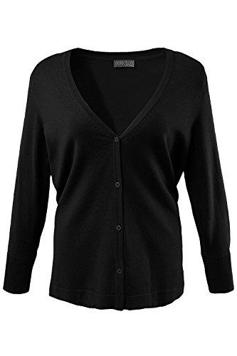 Ulla Popken Femme Grandes tailles Cardigan Femme Automne Hiver à Manches Longues Casual en Tricot Deux Poches Sweater Vester Top Manteau 700334 Noir