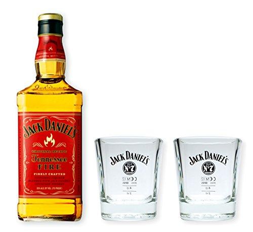 Jack Daniels Fire 0,7l 35% Set mit 2 Original Tumblern / Whiskybechern