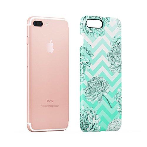 Turquoise Tropical Jungle Leaves Ombre Dünne Rückschale aus Hartplastik für iPhone 7 Plus & iPhone 8 Plus Handy Hülle Schutzhülle Slim Fit Case cover Mint Floral