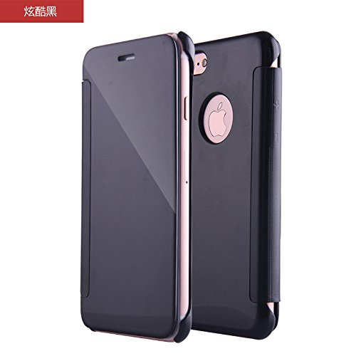 BCIT iphone 7 Cover - Lusso elegante Flash Smart Flip Ultra-sottile vista galvanica specchio trasparente Mobile Phone Shell copertura Per iphone 7 - Argento Nero