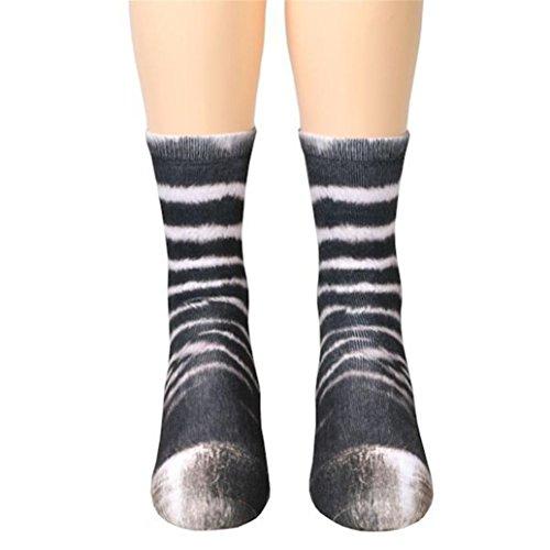 BBring Mode Unisex Tierpfote Crew Socks für Herren und Damen-Sublimated Print (Zebra) (Zebra-print-v-ausschnitt)