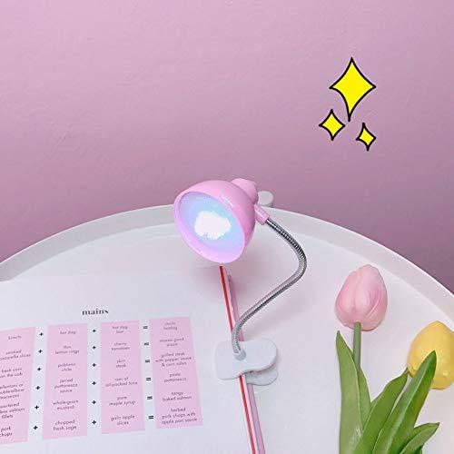GIFT LED Schreibtischlampe Tragbare Mini Schöne Clip Licht Buch Lesen Nachttischlampen Mit Flexiblem Hals Auge Schützen Studenten Nacht Kinder Weihnachten Dekorative Baum Neuheit Geschenk,Pink -