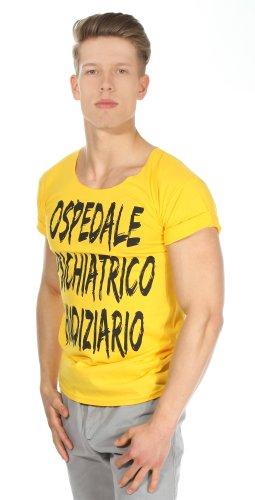 De Puta Madre 69 Herren T-Shirt Gelb Ospedale psichiatrico giudiziario DPM1004-YE, Groesse Herren:L