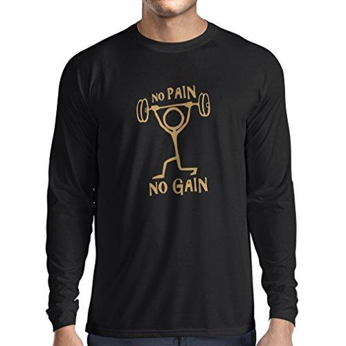 Langarm Herren t Shirts No Pain No Gain - Kleidung für tägliche Kleidung - Fitness, Crossfit, Fitnessraum - Motivations-Sport-Zitate (Medium Schwarz Gold)