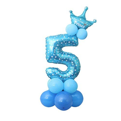 Decoración de Fiesta Cumpleaños Conjunto globos 23 Piezas Doradas Globos de Látex y de Papel de Aluminio Azul cinco Talla Única