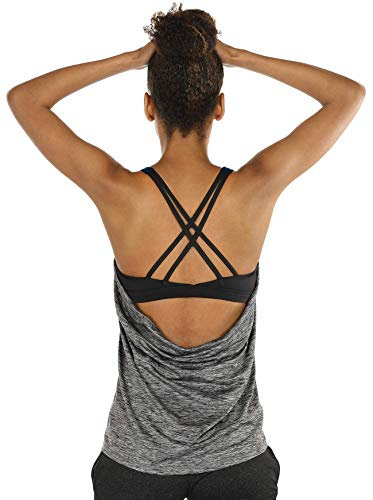 icyzone Damen Sport Yoga Top mit BH - 2 in 1 Fitness Shirt Cross Back BH Training Tanktop (S, Charcoal)