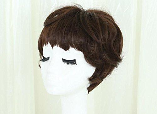 DZW kurze Haarperücke, flauschiges lockiges Haar kurzes Haar - natürliche realistische Bobokopfperücke Kopfbedeckung (Schokoladenfarbe, Aoki Leinengrau, Leinenplatin) , chocolate brown