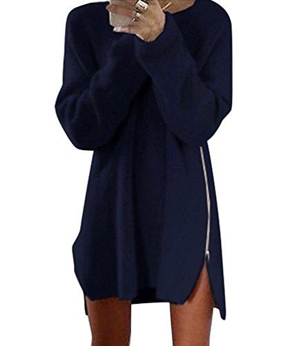 WanYang Donna Mini Abito Maniche Lunghe Signora Vestito Chiffon Rosa Autunno Off Shoulder Sera Festa Marina Militare