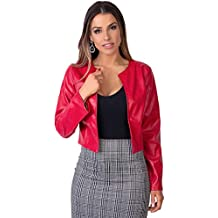 newest 90dbc b61b9 Amazon.it: Giacca Corta Pelle Donna - Rosso