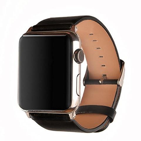 Apple Watch Armband 42mm, Echtes Kalbsleder Ersatzarmband Armband für Apple Watch Series 1 Series 2 mit Edelstahlschnalle, Schwarz