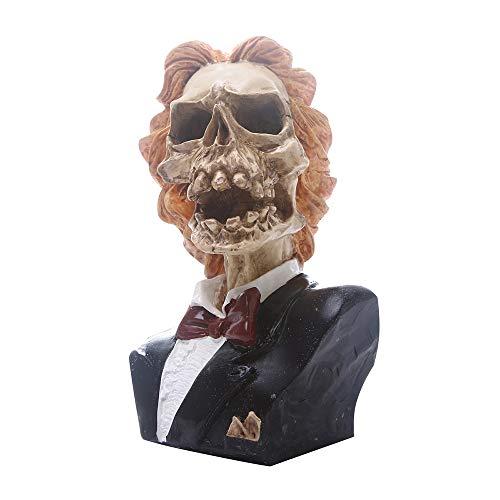ZHZX Lady Skeleton, Orange Haar Schädel Fotografie Requisiten, handgemachte Kunstharz Skulptur, Anti verblassen und langlebig, für zu Hause Halloween Ornament