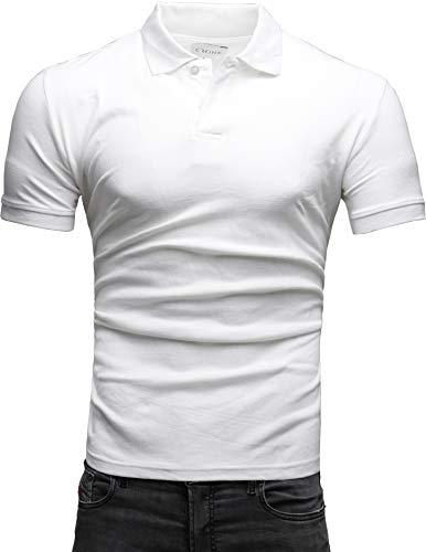 Crone Paul Herren Polo Shirt Pique Slim Fit Kurzarm Polohemd (S, Weiss)