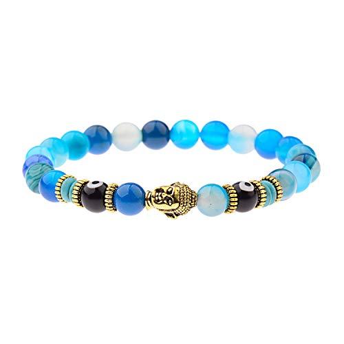 Natürliches Tigeraugen-Perlenarmband für Herren, Schmuck, Gebet, Gold, Buddha, Stretch-Charm-Armband für Frauen Schmuck 224-6