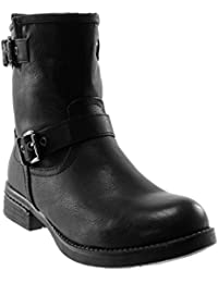 cc594876bdf908 Angkorly - Women s Fashion Shoes Ankle Boots - Booty Boots - Biker - Buckle  - Thong