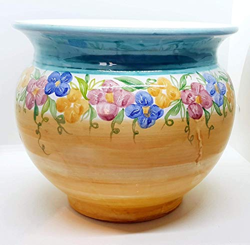 Cachepot Linea Fiori Misti diametro 25 x 22 cm. altezza Handmade Le Ceramiche del Castello Made in Italy