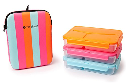 Scatole porta pranzo con chiusura termica e sicura rosa- blu- arancione, set di 3