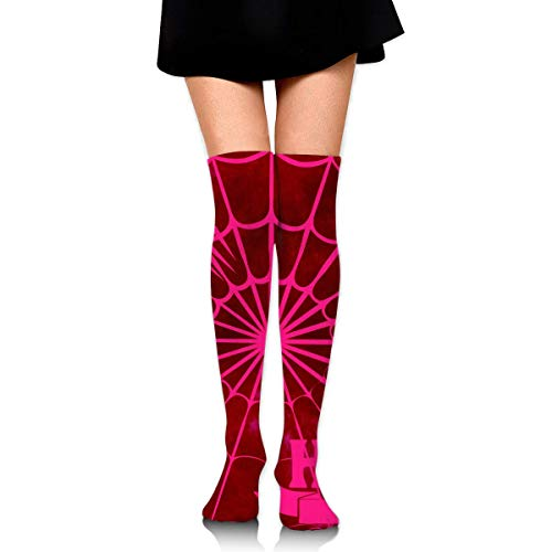 een Pink Spider Web Pumpkin Ankle Stockings Over The Knee Sexy Womens Sports Athletic Soccer Socks ()