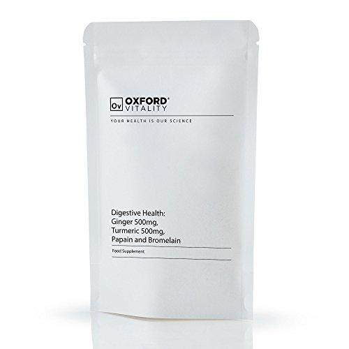 Oxford Vitality - Ingwer-Wurzel 500 mg, Kurkuma 500mg, Papain und Bromelain 300,000usp 120gdu Tabletten