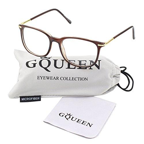 GQUEEN Modische Metallbügel Hornbrille Klare Gläser Brille PS9