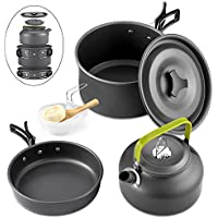 GreensKon Camping Cookware, Aluminum Nonstick & Lightweight Cookware Set with Kettle Outdoor Camping Pans for 2-3People, Portable Cook Set or Camping Hiking BBQ Picnic