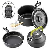 Best Camping Pots - GreensKon Camping Cookware, Aluminum Nonstick & Lightweight Cookware Review