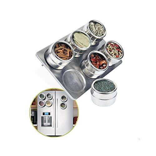 TWJLLL 6 Stück Magnetic Spice Jars SetEdelstahl Salz- und Pfefferspray Shaker Spice Rack Seasoning BoxGewürzbehälter