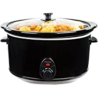 Andrew James Slow Cooker 8 Litres   Tempered Glass Lid & Removable Ceramic Bowl   Ideal for Making up to 25 Portions of Slow Cooker Recipes   3 Temperature Settings   380W   Black