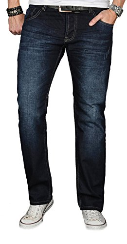 A. Salvarini Designer Herren Jeans Hose Jeanshose Regular Comfort gerades Bein, 30W / 30L, Night Blue