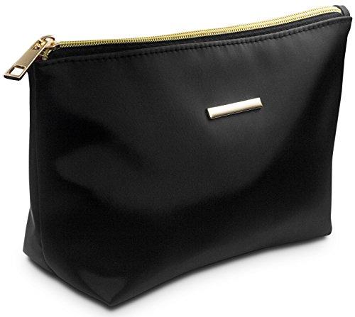 TRAVANDO ® Schminktasche schwarz | Kosmetiktasche klein für Pinsel Aufbewahrung | Make Up Tasche | Beauty Bag für Kosmetik | Schminkbeutel für Makeup | Kosmetikbeutel | Cosmetic Bag für Damen (Tasche Handtasche Make-up)