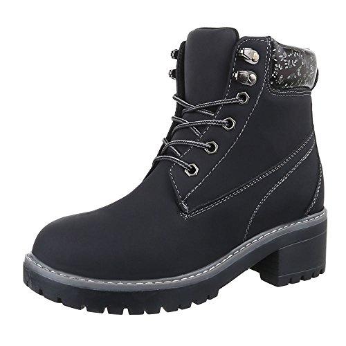 ItalDesign Schnürboots Damen Schuhe Combat Boots Blockabsatz Schnürer  Schnürsenkel Stiefeletten Schwarz