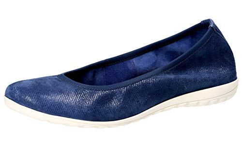 Hirschleder Gummizug (CAPRICE 22142-22 Damen KlassischeBallerinas,Flats,Sommerschuh,Gummizug,(802) Blue Jeans SUE,40 EU)