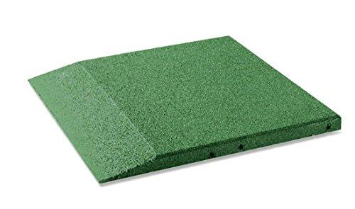 Plaque bord pour cas protection, fond carrelage 50 x 50 x 3 cm en caoutchouc, vert