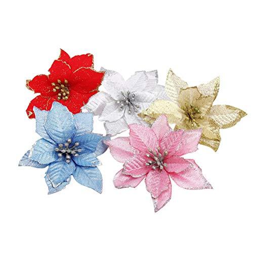 BESPORTBLE 10 stücke Weihnachten Blumen Weihnachten Christbaumschmuck Glitter Hochzeit Künstliche Blumen Dekor (jeweils Zwei blau, Gold, Rosa, Weiß, Rot) (Glitter Hochzeit Dekor)