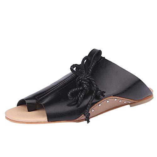 Minetom Sandalen Damen Sommer Herbst Sandaletten Flachen Espadrille Plateau Elegante Schuhe Pu Leder Lace Up Mode Sandals Schwarz EU 35 -