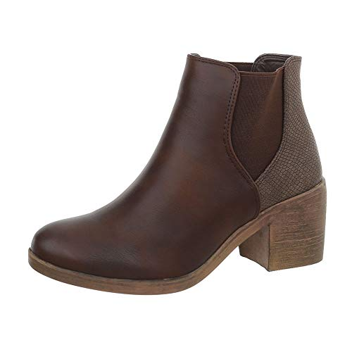Ital-Design Damenschuhe Stiefeletten Chelsea Boots Synthetik Braun Gr. 39