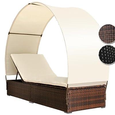 Poly Rattan Lounge Sonnenliege mit Dach Rückenlehnen 4-fach höhenverstellbar (Farbwahl)