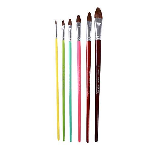 Jixing 6 Teile/Satz Pinsel Hölzernen Langen Griff Aquarell Pinsel für Nagel Ölgemälde Kunst Färbung Lieferungen, Doppelte Nummer