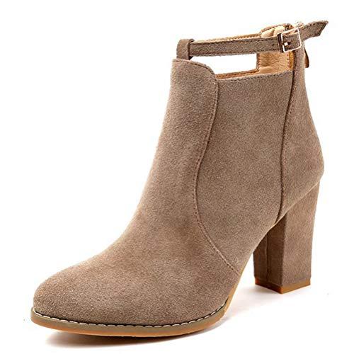 Highheels Herbst Winter klobige Ferse Kurze Stiefel Casual Schuhe high Heel Reißverschluss Damenstiefel ()