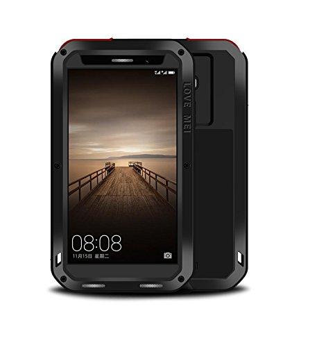 Huawei Mate 9 Hülle,Loveours Kratzfeste Stoßfest Armor Spritzwasserfest Multifunktions Hülle Metall mit Gorilla Glas Schutzhülle für Huawei Mate 9 - Schwarz