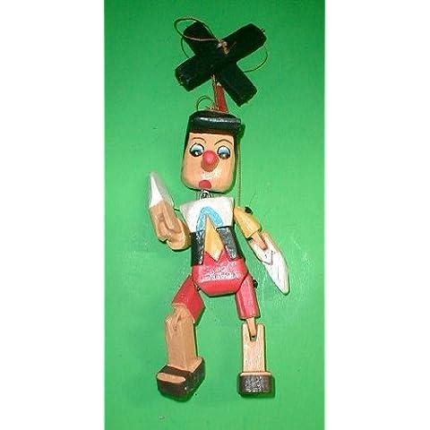 Pinocho marioneta de tamaño grande de madera tallada mano 40,64 cm Disney