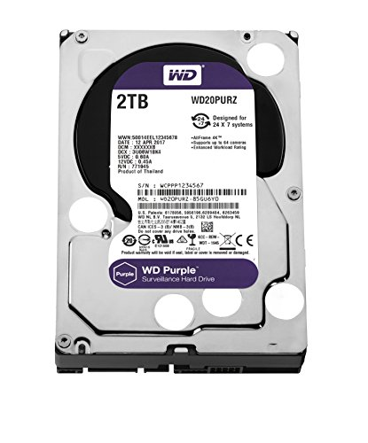 Western Digital Purple 2000GB Serial ATA III internal hard drive - internal hard drives (2000 GB, Serial ATA III, 5400 RPM, 3.5', Surveillance system, HDD)