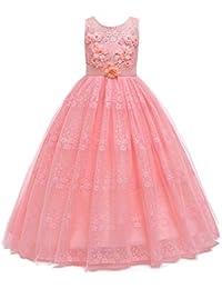 7b10023702a9b BOZEVON Robe de Princesse Fille - Demoiselles d honneur Robe de Soirée en  Dentelle de