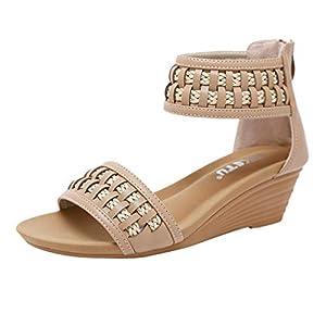 Geilisungren Sandalen Damen Mode Sommer Böhmischen Geflochten Reißverschluss Keilsandaletten Frauen Casual Wedges Peep Toe Strandsandalen Übergrößen Bequeme Römische Schuhe