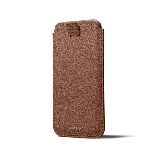 Lucrin - Etui avec languette pour iPhone 8/7/6/6s - Gris Souris - Cuir de Chèvre Cognac
