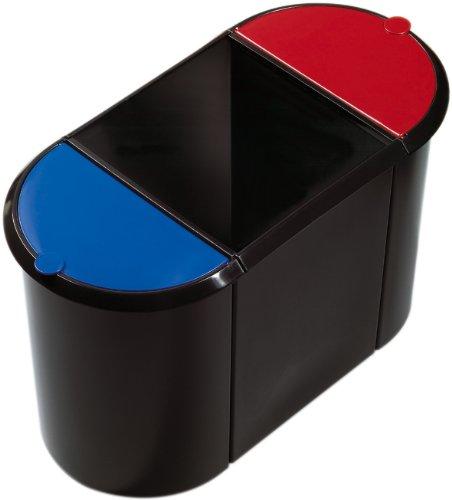 Helit H6103597 Trio-System-Papierkorb großer Behälter schwarz / blau / rot (Teil Zwei Computer-papier)