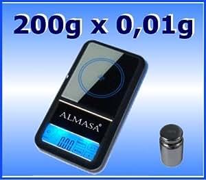 ALMASA MT-3 Feinwaage,Digitalwaage/Goldwaage/Taschenwaage/Küchenwaage aus hochwertigen Materialien + 200g Kalibriergewicht, wiegt bis 200g in 0,01g Schritten.