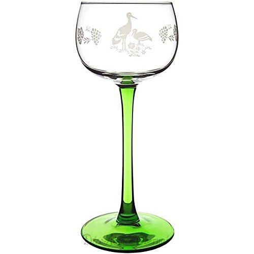 6 Verres à Vin d'Alsace décor \