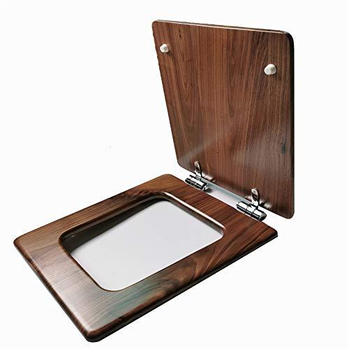 NBZLY Mahagoni Universal WC-Sitz, Platz WC-Sitz, Silber Dämpfung Slow Down Soft Closure, wiederverwendbar, für Home Bathroom Accessory Decor