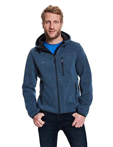 Jeff Green Herren Strick Fleece Jacke Kapuze Cork, Größe - Herren:54, Farbe:Jeans Herren Kapuzen-fleece-jacke