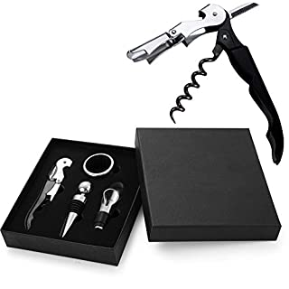 ANTFEES Wine Accessory Gift Kit 4 Piece Set (Opener Corkscrew, Bottle Stopper, Collar, Aerating Pourer) Perfect Gift and for All Wine Lovers